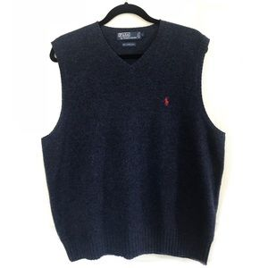 Polo Lambs Wool Vest Navy